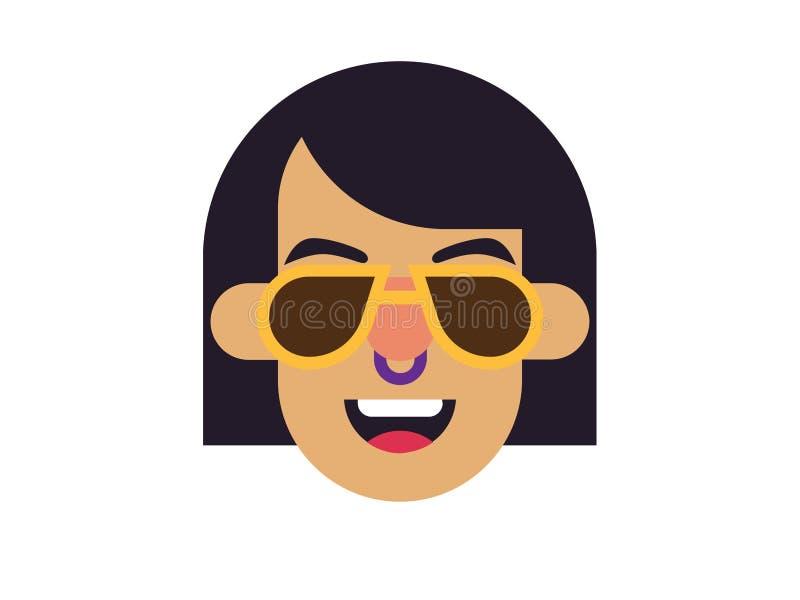 Tragende Gläser der Vektorfrau auf einem weißen Hintergrund vektor abbildung