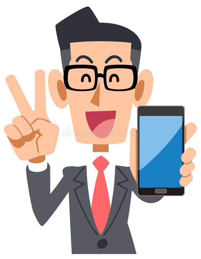 Tragende Gläser des Geschäftsmannes, die einen Smartphone halten sich freuen lizenzfreie abbildung