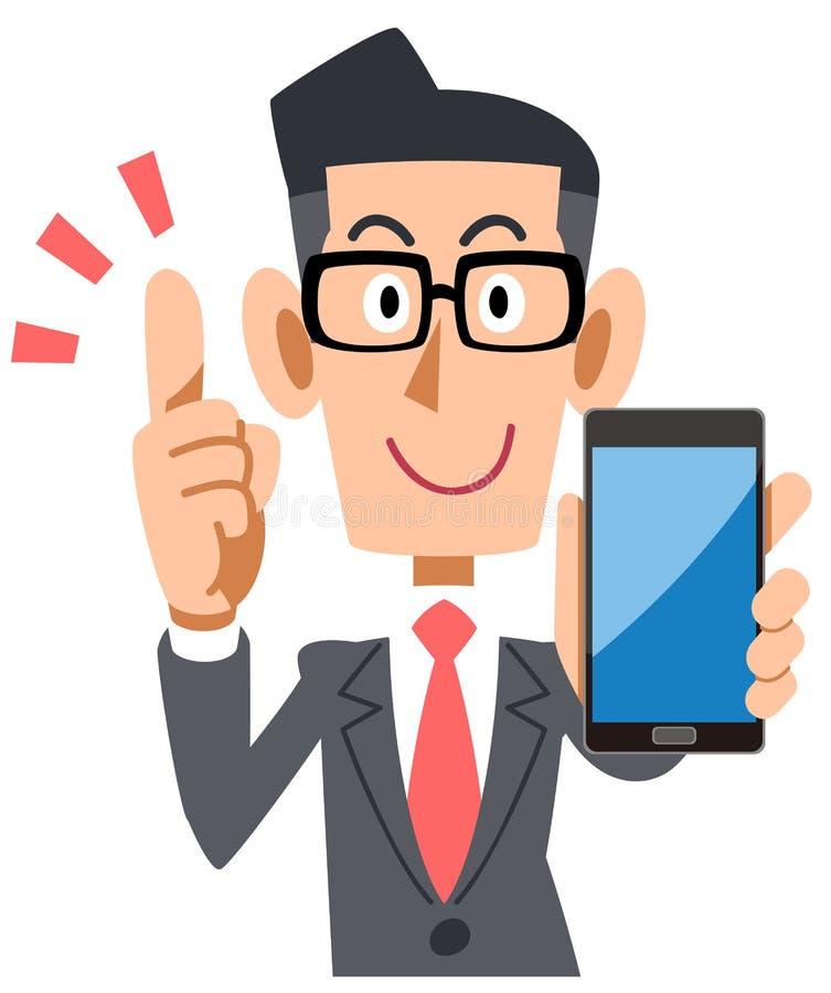 Tragende Gläser des Geschäftsmannes, die mit Smartphone erklären stock abbildung