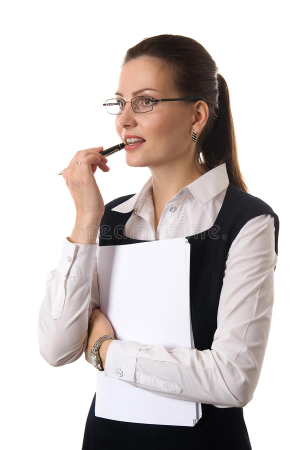 Tragende Gläser des schönen Brunette lizenzfreies stockfoto