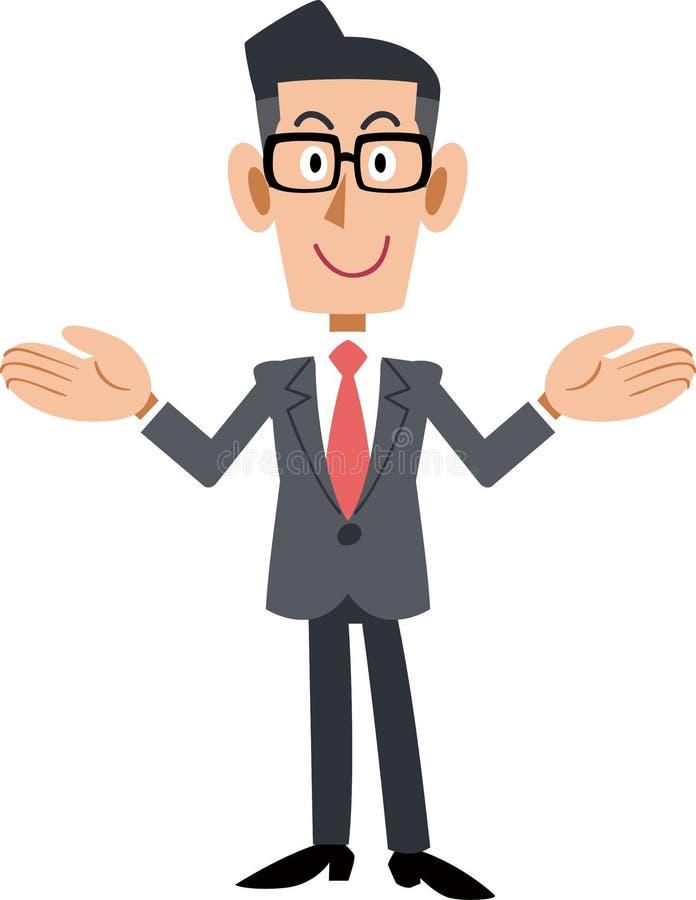 Tragende Gläser eines Geschäftsmannes, das beide Hände verbreitet lizenzfreie abbildung