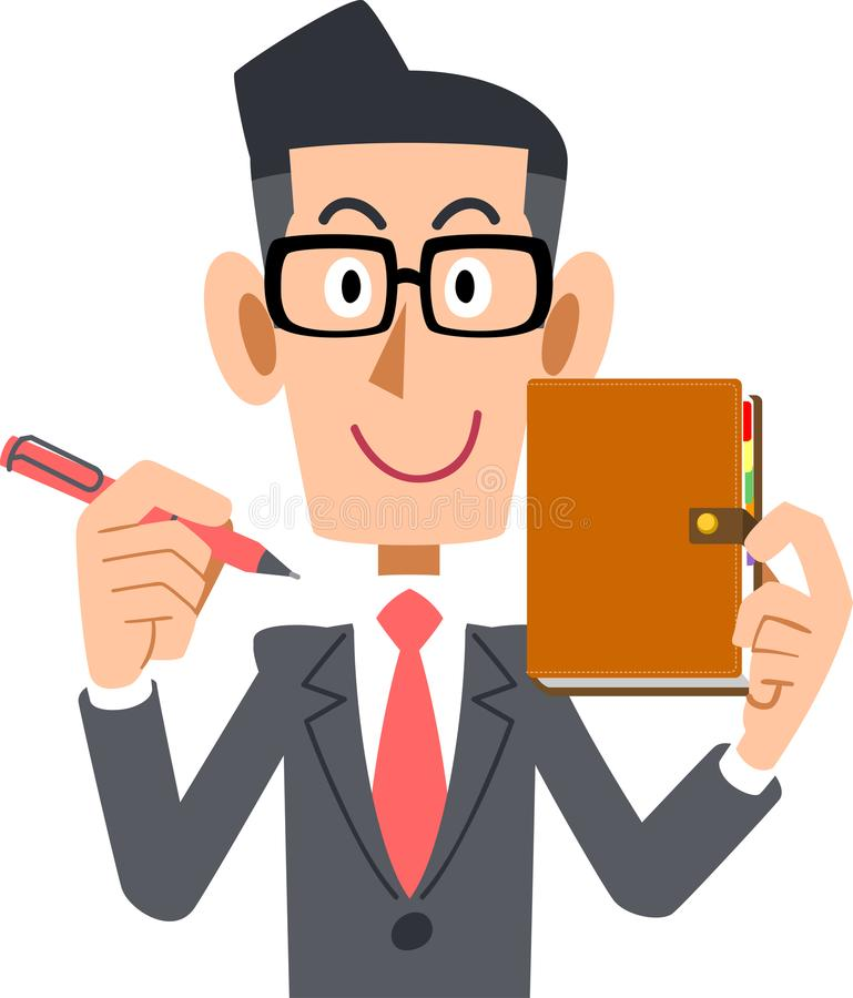 Tragende Gläser eines Geschäftsmannes und sein Notizbuch lizenzfreie abbildung