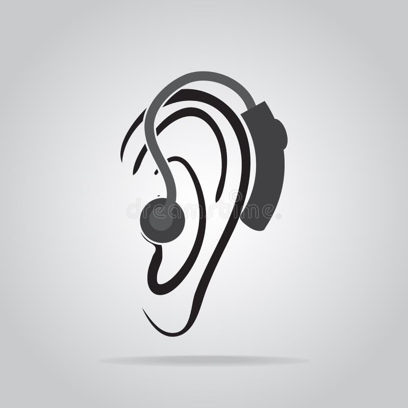 Tragende Hörgerätikone, Anhörung und Ohrikone lizenzfreie abbildung