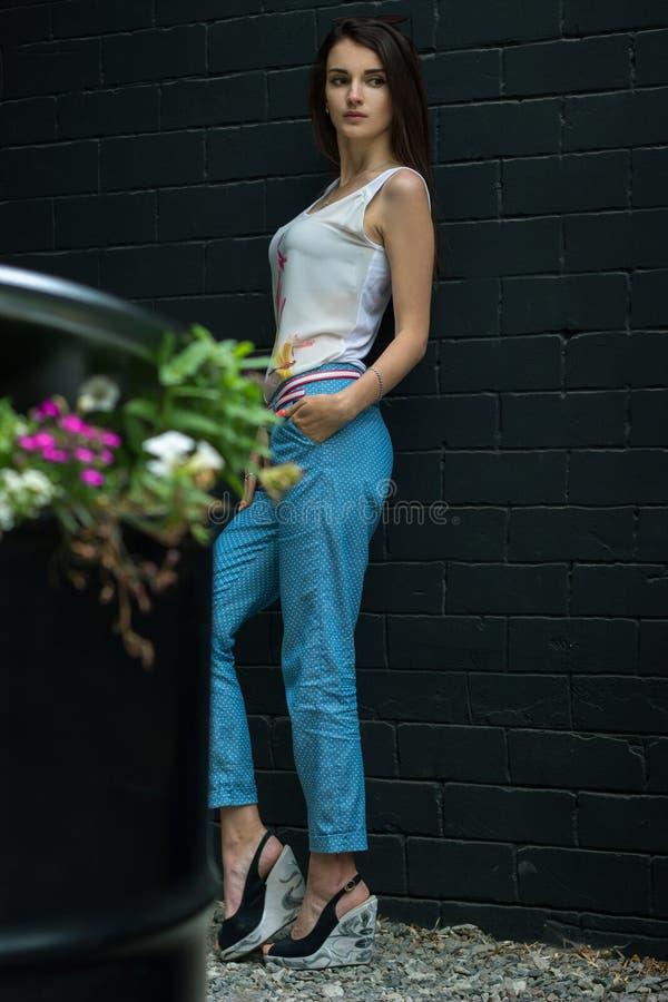 Tragende Hosen des großen dünnen schönen Brunette und T-Shirt Stände auf der Straße lizenzfreie stockfotos