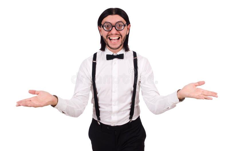 Tragende Hosenträger des Mannes isioated auf Weiß lizenzfreies stockfoto