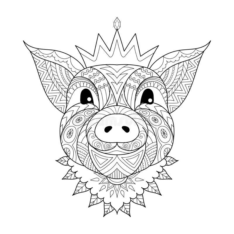 Tragende Krone des Schweinbabys das chinesische Zeichen von Jahr 2019 für Malbuchseite, Druckt-stück und so weiter Vektor I stock abbildung
