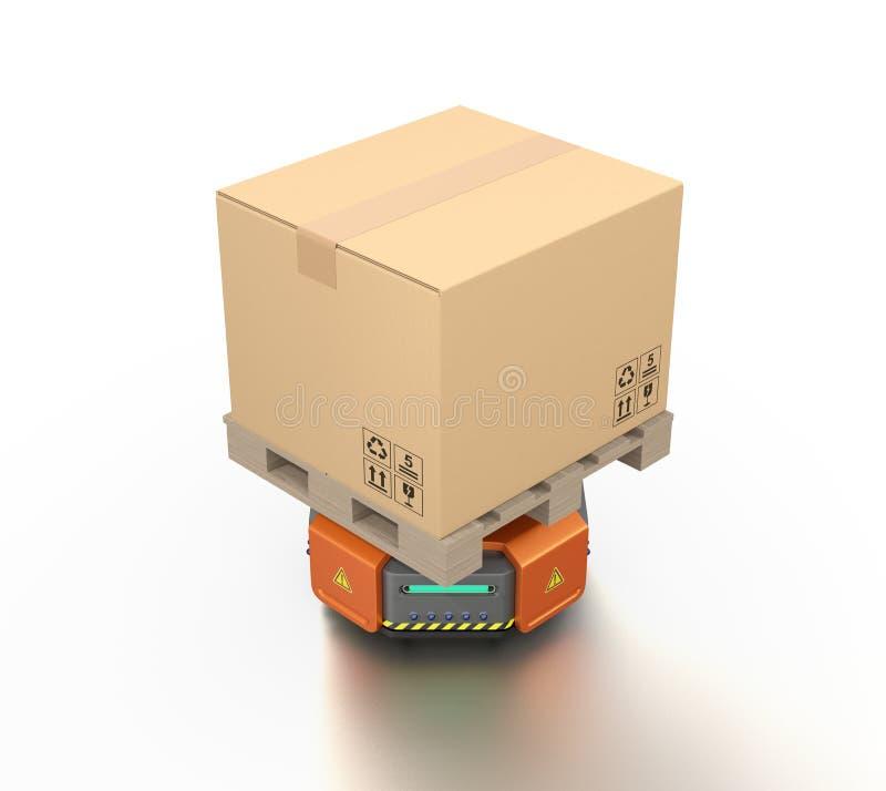 Tragende Pappschachteln der orange Lagerroboter-Fördermaschine lizenzfreie abbildung