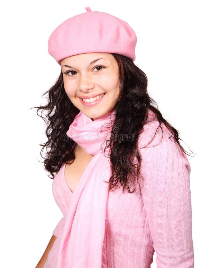 Tragende rosafarbene Kleidung des Winters der Frau lizenzfreies stockbild