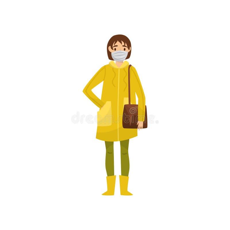 Tragende Schutzmaske der jungen Frau, Umweltverschmutzungsproblem-Vektor Illustration auf einem weißen Hintergrund lizenzfreie abbildung