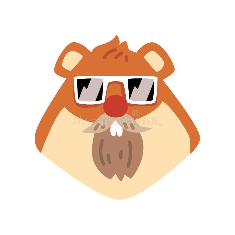 Tragende Sonnenbrille des Bibers, Tierporträtkarikatur-Vektor Illustration auf einem weißen Hintergrund vektor abbildung