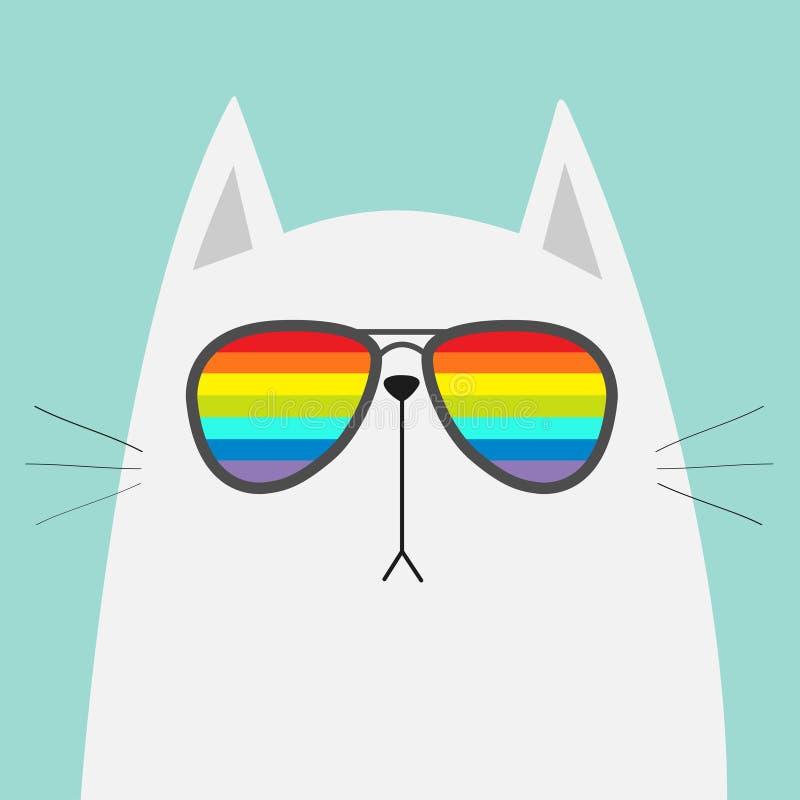Tragende Sonnenbrillebrillen der weißen Katze Regenbogenfarblinsen LGBT-Zeichensymbol Lustiger Charakter der netten Karikatur Kät stock abbildung