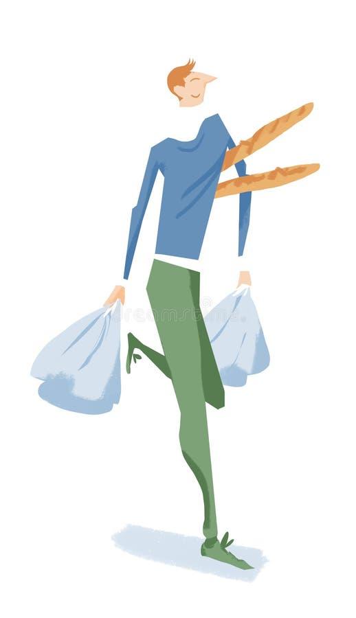 Tragende Stangenbrote und Einkaufstaschen des netten Mannes stockbilder