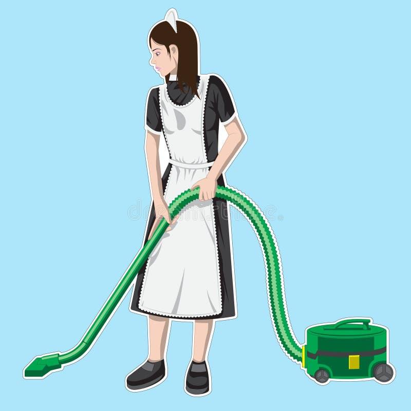 Tragende Uniform des Mädchencharakters mit Vakuum, Reinigungsservice von Hotelvektor Illustration stock abbildung
