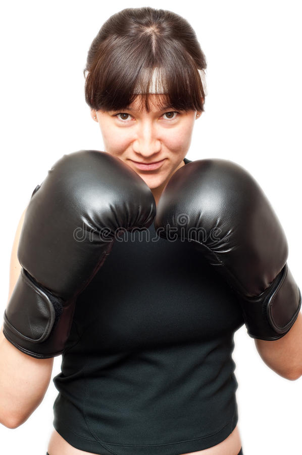 Tragende Verpackenhandschuhe der Frau lizenzfreies stockfoto