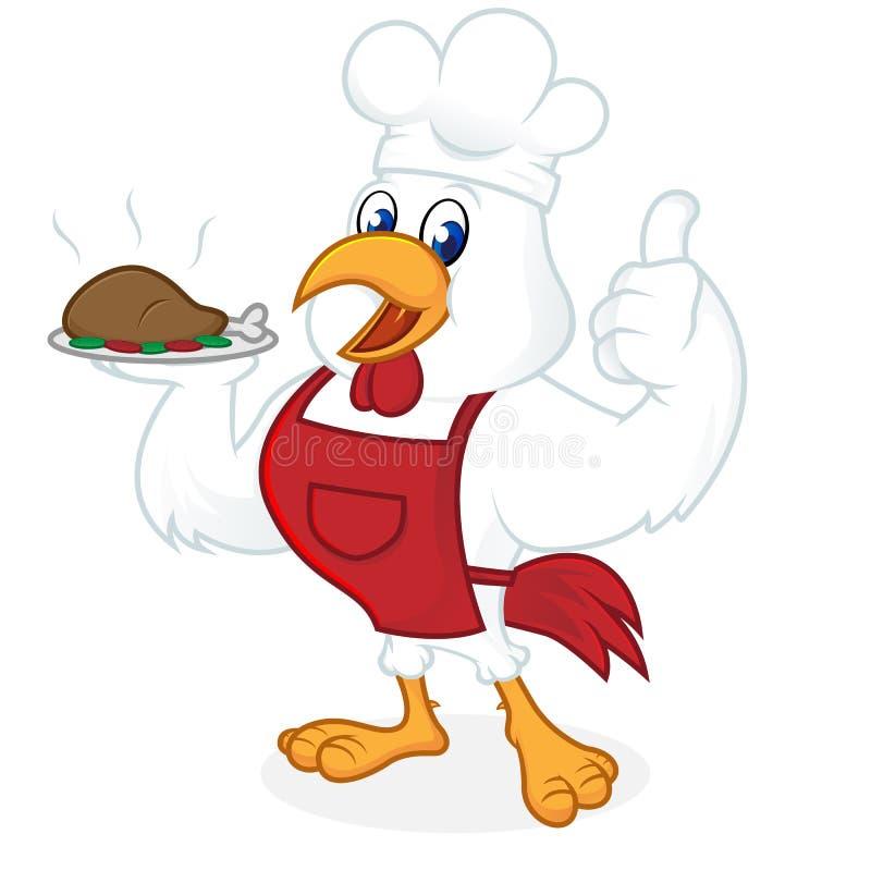 Tragender Chefhut der Hühnerkarikatur und tragendes Lebensmittel vektor abbildung