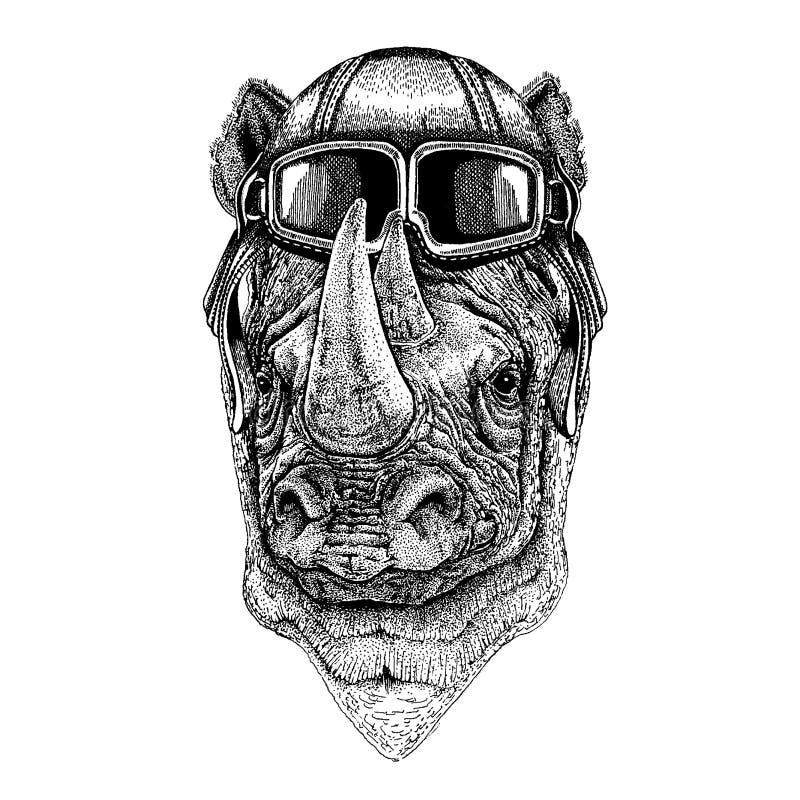 Tragender Fliegertiersturzhelm mit Gläsern Die Schlangejagd im Labyrinth Nashorn, gezeichnete Illustration des Nashorns Hand für  lizenzfreie abbildung