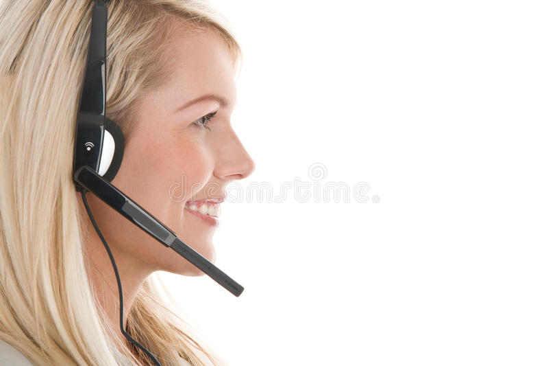 Tragender Kopfhörer der Frau stockbilder