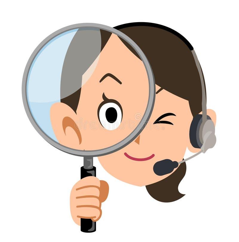 Tragender Kopfhörer des weiblichen Betreibers, der eine Lupe hält vektor abbildung
