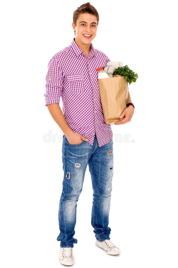 Tragender Lebensmittelgeschäftbeutel des Mannes lizenzfreies stockfoto