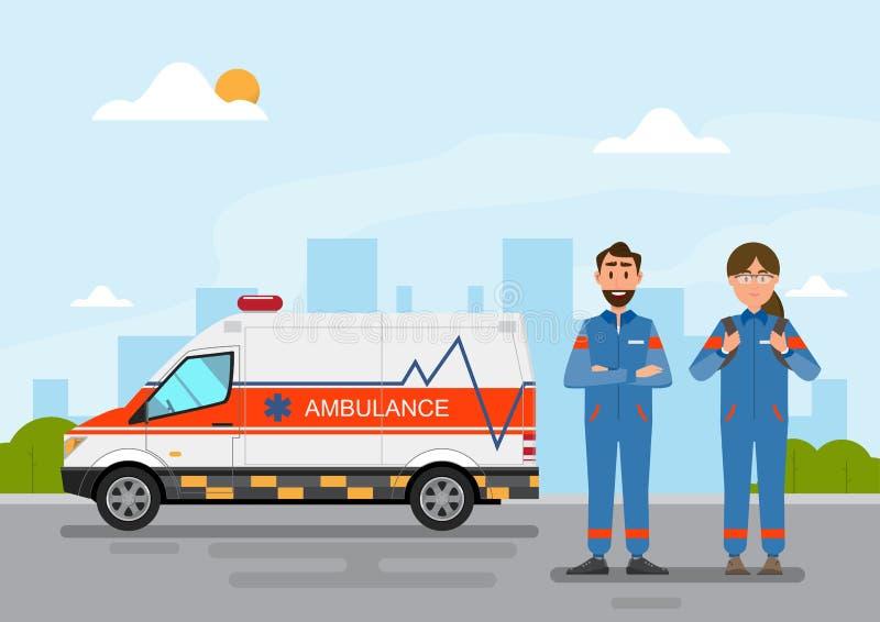 Tragender Patient der ?rztlichen Bem?hung des Krankenwagens mit Mann- und Frauenpersonal lizenzfreie abbildung