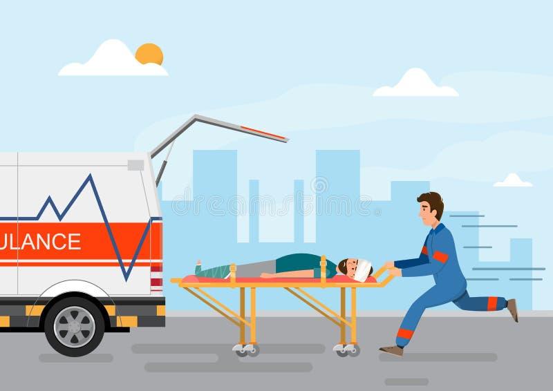 tragender Patient der ?rztlichen Bem?hung des Krankenwagens mit Mannpersonal vektor abbildung