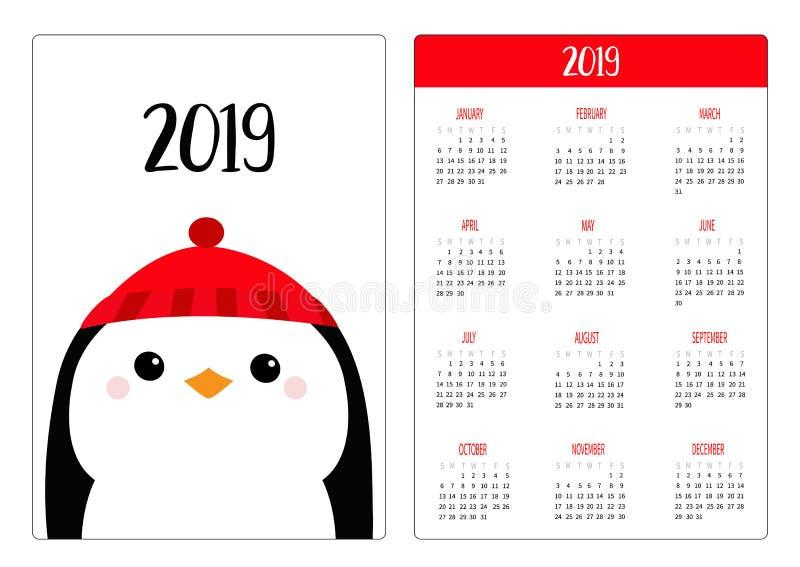 Tragender roter Hut des Winters des Pinguinkopfes Frohe Weihnachten Einfache neues Jahr des Taschenkalenderplans 2019 Woche begin stock abbildung
