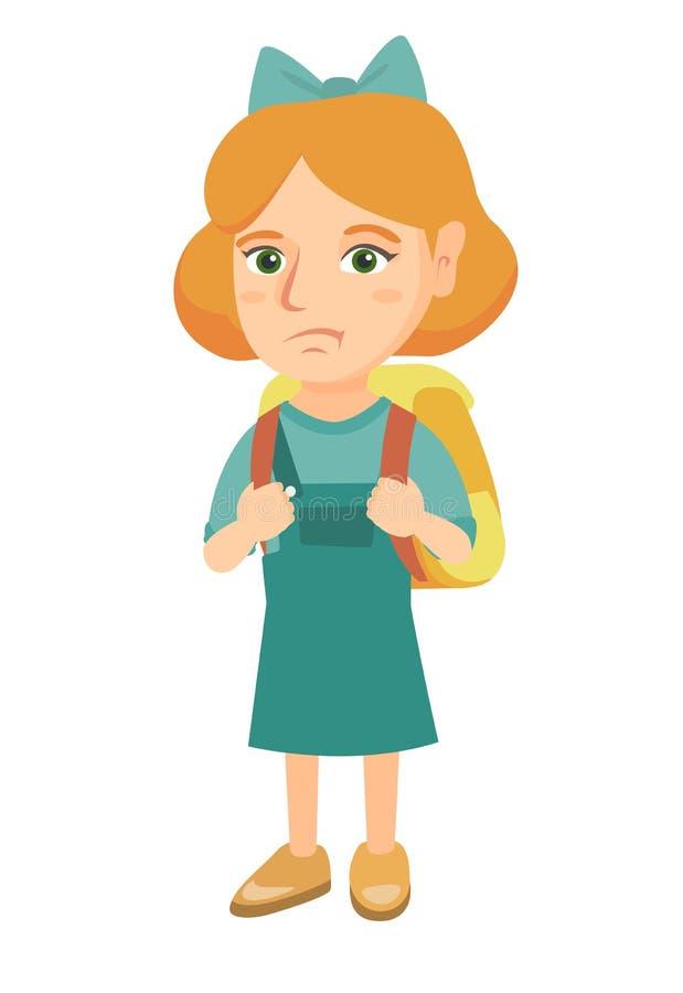 Tragender Rucksack des kleinen kaukasischen traurigen Schulmädchens stock abbildung