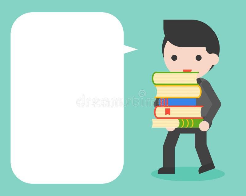 Tragender Stapel des Geschäftsmannes von Büchern und von leerer Spracheblase für stock abbildung