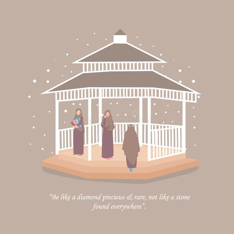 Tragendes hijab Schleier der moslemischen Frau zusammen mit ihrem Freund lizenzfreie abbildung