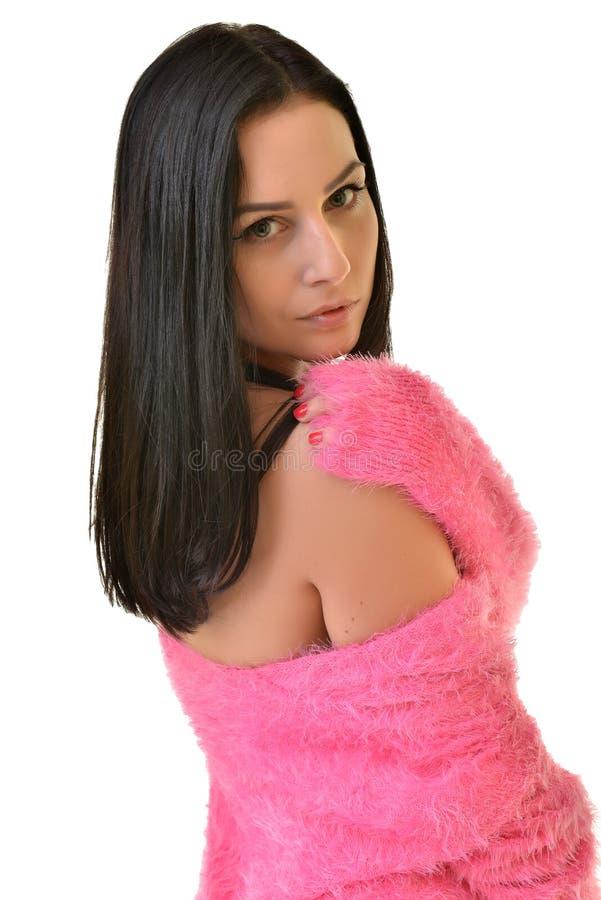 Tragendes Rosa der sexy spielerischen Frau lizenzfreie stockbilder