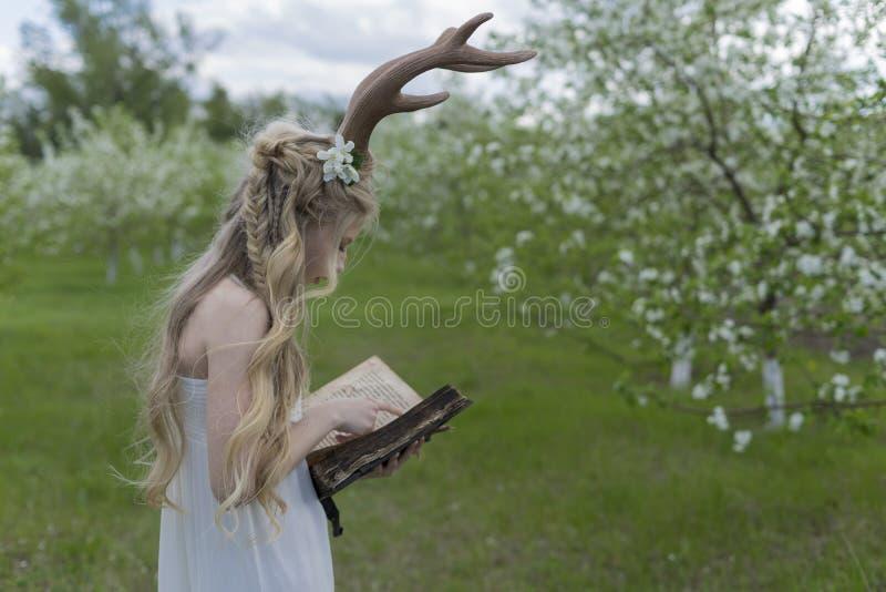 Tragendes weißes Kleid des jugendlich schönen blonden Mädchens mit Rotwildhörnern O stockfotos