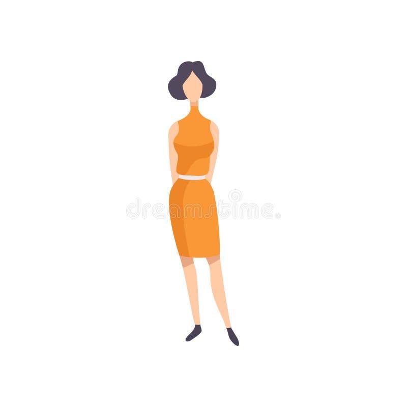 Tragendes Weinlesekleid der jungen brunette Frau, Retro- Modeleute von Vektor 70s Illustration auf einem weißen Hintergrund lizenzfreie abbildung