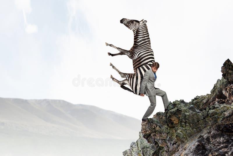 Tragendes Zebra des Geschäftsmannes Gemischte Medien stockfotografie