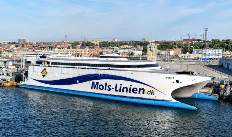 Traghetto ad alta velocità 1 PRECISO della compagnia di spedizioni Molslinjen fotografia stock