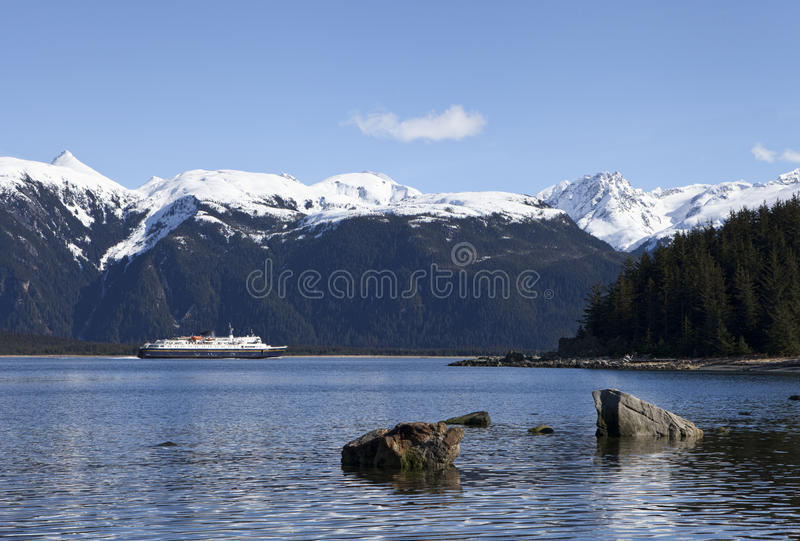 Traghetto in Lynn Canal fotografia stock