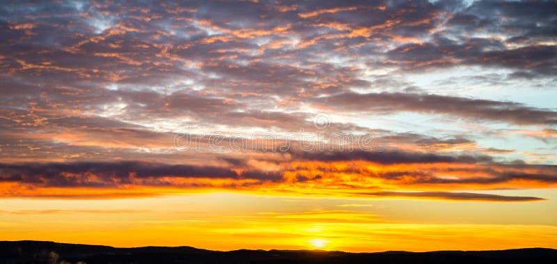 Tragic sky, yellow-pink clouds, sunrise or sunset royalty free stock photos