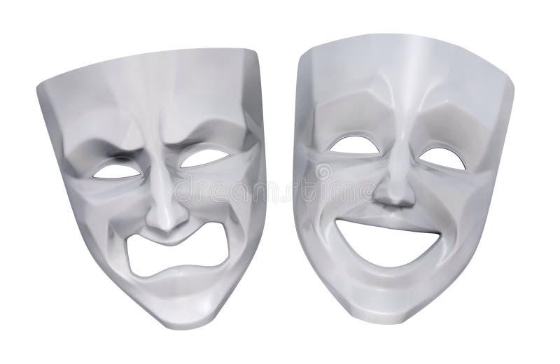 Tragicomic Maskers van het Theater stock illustratie