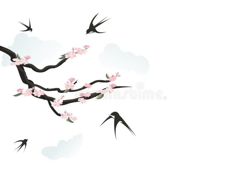 Tragos felices que cantan el resorte libre illustration