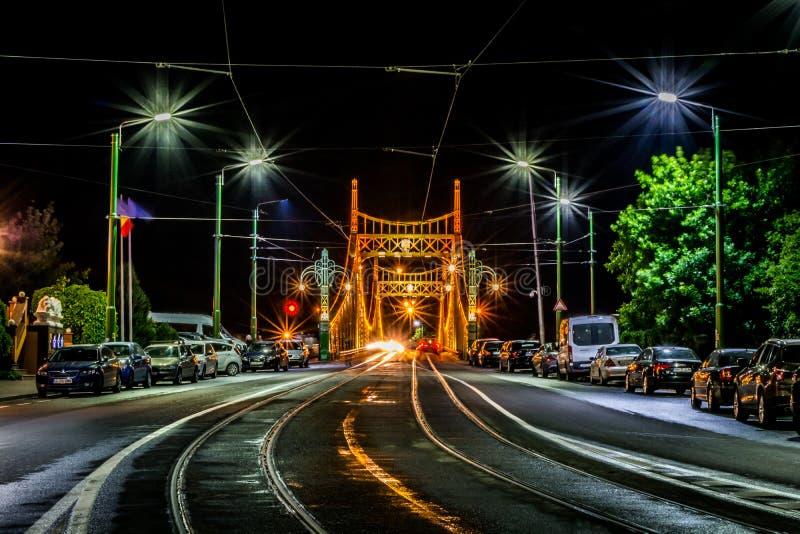 Traian Bridge Arad, de Nachtfoto van Roemenië royalty-vrije stock foto
