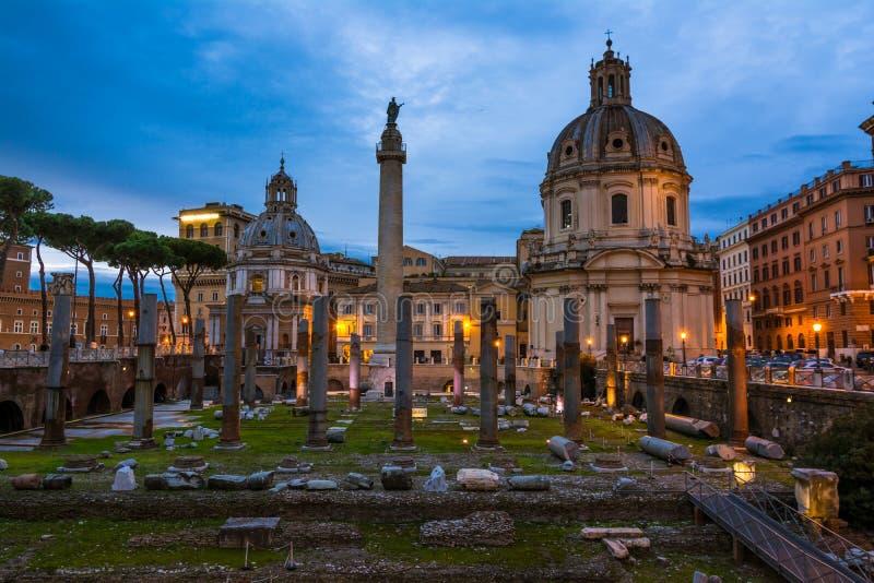 Traian column and Santa Maria di Loreto stock images