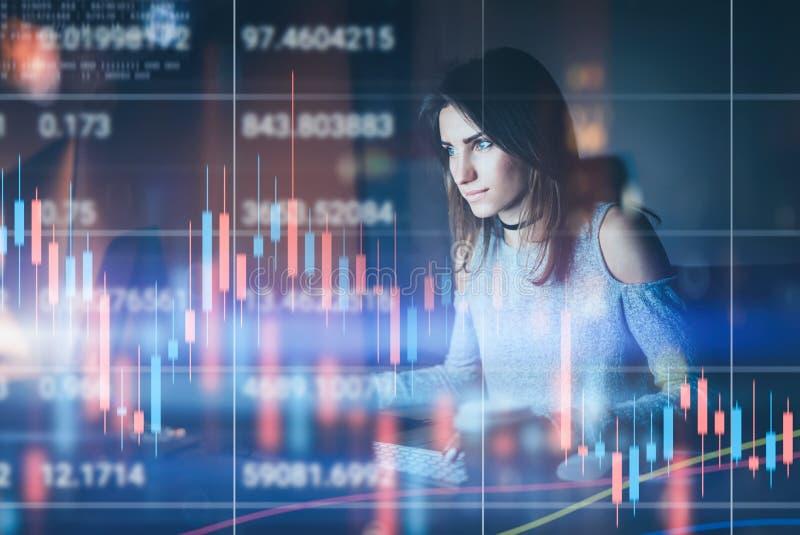 Traider de la mujer joven que trabaja en la oficina moderna de la noche Gráfico técnico del precio y carta del indicador, roja y  imagen de archivo