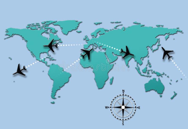 Traiettorie di volo dell'aereo di corsa di linea aerea sul programma di mondo illustrazione vettoriale