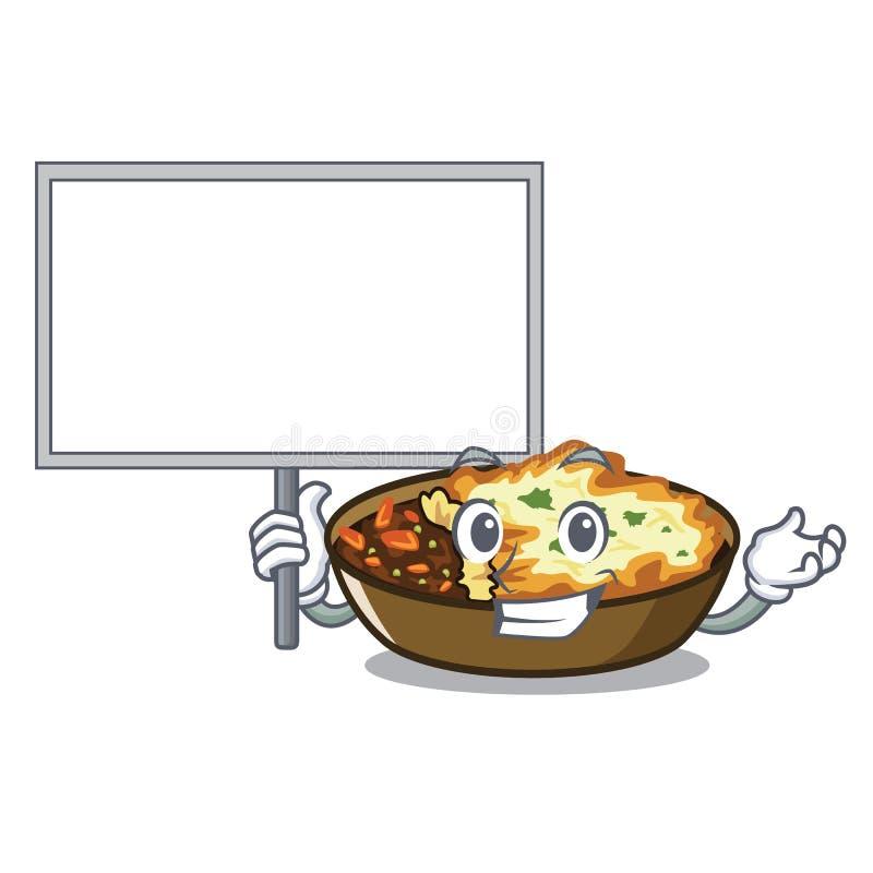 Traiga al tablero que el gratén se sirve en las placas del carácter stock de ilustración