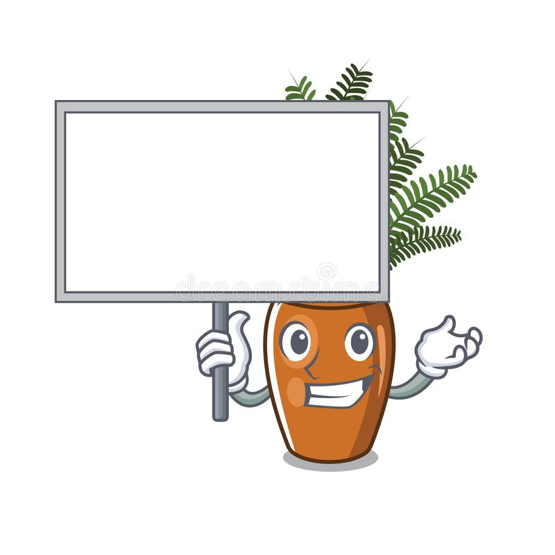 Traiga al tablero que el helecho de Boston crece en pote de la mascota stock de ilustración