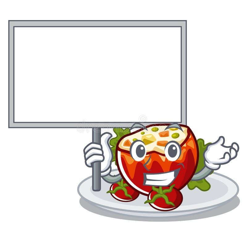 Traiga al tablero rellenó los tomates puestos en las placas del carácter ilustración del vector