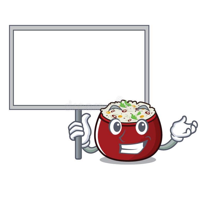 Traiga el arroz de la cuajada del tablero servido en cuenco de la mascota stock de ilustración