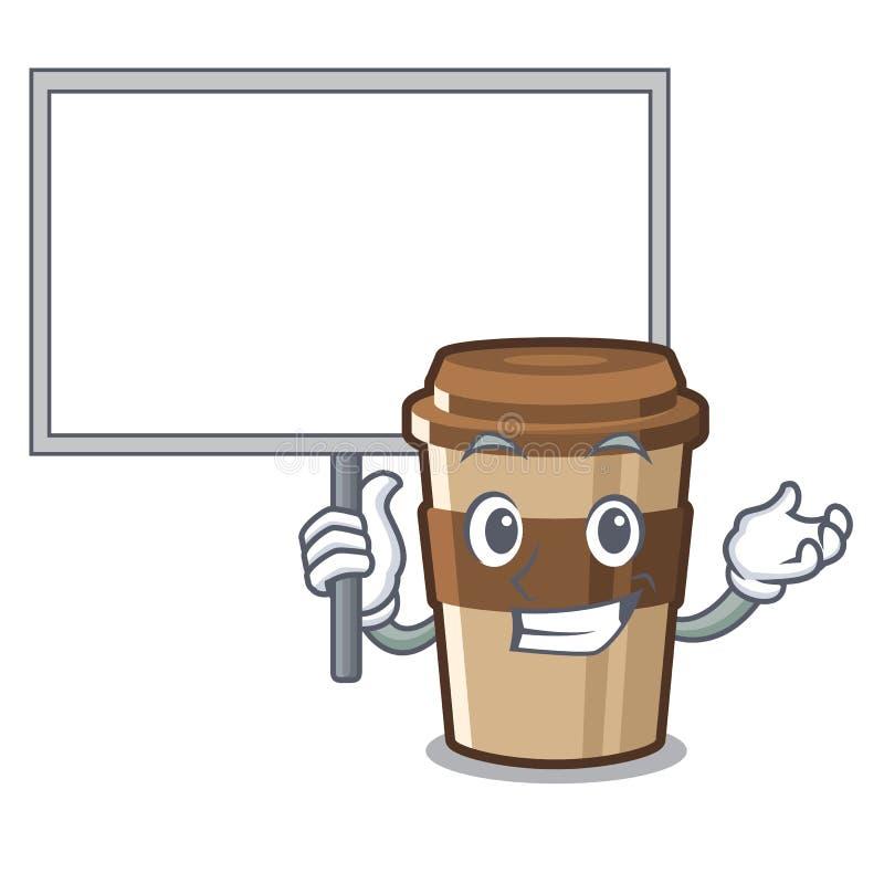 Traiga el café express de la taza del tablero sobre la tabla de madera de la historieta stock de ilustración