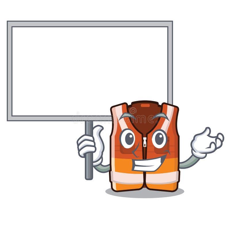 Traiga el chaleco de la seguridad del tablero aislado en el carácter libre illustration