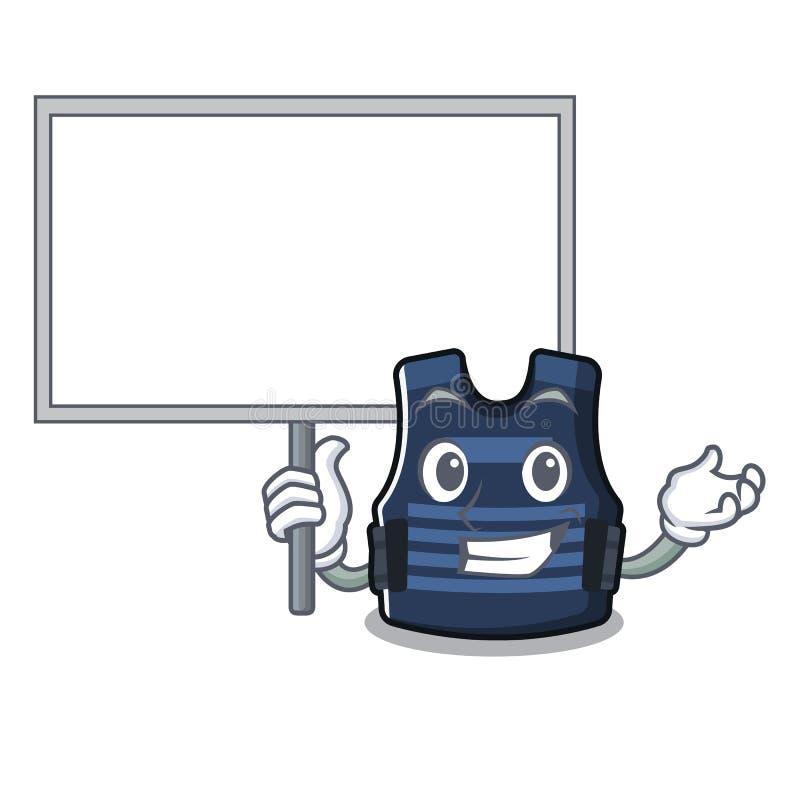 Traiga el chaleco del bulletprof del tablero aislado en la mascota stock de ilustración