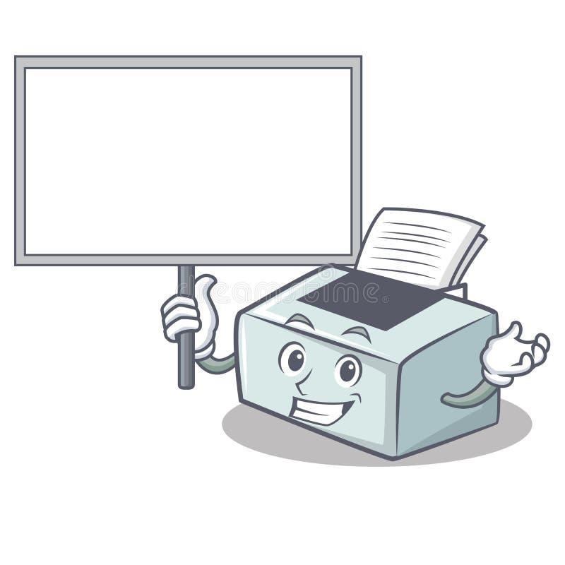 Traiga el estilo de la historieta del carácter de la impresora del tablero stock de ilustración